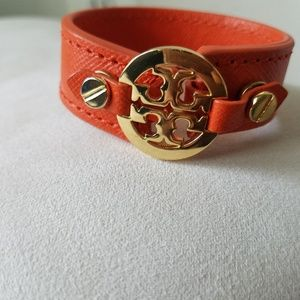 Tory Burch Orange Leather Bracelet